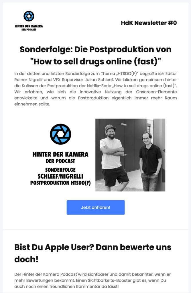 Ein Newsletter Screenshot mit Text und einer vergangenen Folge!